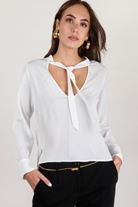 Carla G White Silk Blouse with Tight Up Collar / Size: 40 - Fit: S