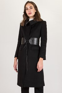 Gucci Black Wool Coat with Leather Belt / Size: 42 IT - Fit: XS / S