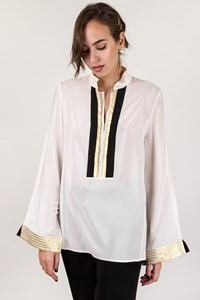 Zeus + Dione Ecru Silk Blouse with Gold and Black Details / Size: 40 - Fit: S