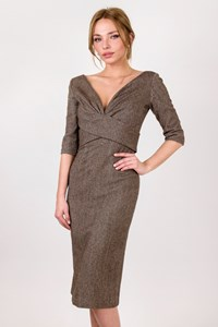 "Alexander McQueen ""Iconic Vertigo"" Wool Midi Fitted Dress / Size: 40 IT - Fit: XS"