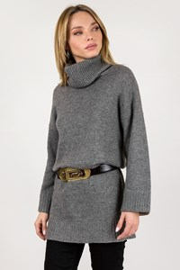 Burberry Brit Grey Cashmere Knitted Blouse with Check Printed Sleeve Trim / Size: M - Fit: True to size