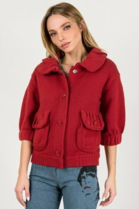 Marc By Marc Jacobs Red Knitted Cardigan with Balloon Sleeves / Size: XS - Fit: XS / S