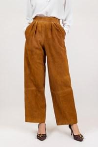 Hermès Tan Suede High Waist Pants / Size: 38 - Fit: XS