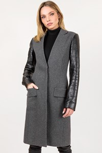 Alexander Wang Grey Wool Coat with Croc-Effect Leather Sleeves / Size: 2 - Fit: XS