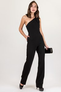 DVF Black One Shoulder Jumpsuit / Size: 2 - Fit: S