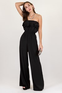Jaygodfrey Black Strapless Jumpsuit / Size: 6 - Fit: S