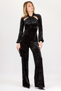 Mi-Ro Black Velour Jumpsuit / Size: 44 - Fit: XS
