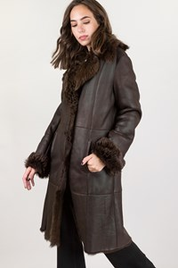 Brown Shearling Coat / Size: 44 - Fit: S / M