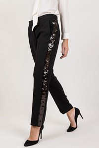 Victoria Victoria Beckham Black Pants with Sequin Stripe / Size: 42 - Fit: S / M