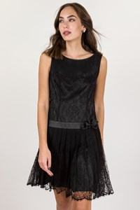 Escada Black Silk Dress with Lace / Size: 36 - Fit: S