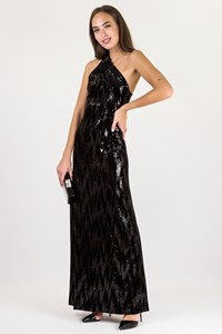 Jasmine di Milo Black Velvet Maxi Dress with Sequins / Size: 36 - Fit: XS / S