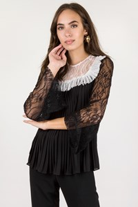 Mi-Ro Black Lace Blouse with Pleated Details / Size: 44 - Fit: S