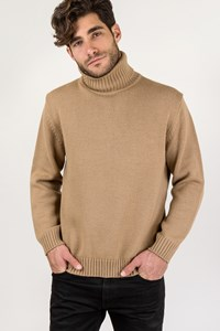 Pal Zileri Sport Beige Wool Knitted Turtleneck Sweater / Size: L - Fit: M