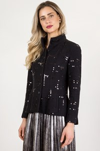 Chanel Blue Tweed Blazer with Sequins / Size: 40 - Fit: S
