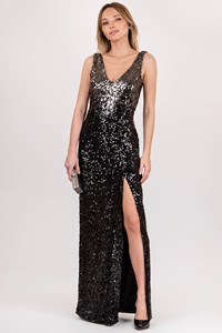French Connection Graduated Maxi Dress with Sequins / Size: 36 FR - Fit: XS / S