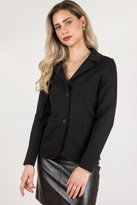 Alpha Studio Black Neoprene Blazer / Size: 42 - Fit: XS