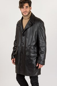 Armani Collezioni Black Leather Coat / Size: 56 IT - Fit: XXL