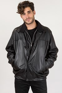 Daniel Hechter Black Leather Jacket / Size: 54 - Fit: M / L