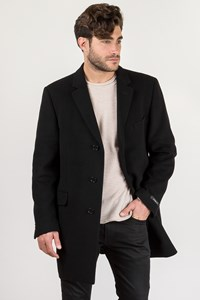John Varvatos Star U.S.A Black Wool Coat in Straight Line / Size: 44 US - Fit: L/XL