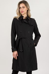 Burberry London Black Synthetic Trench Coat / Size: 14 UK - Fit: M