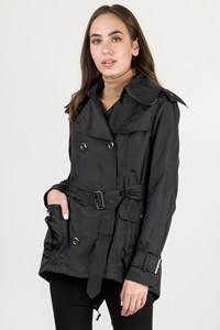 Burberry London Black Nylon Short Trench Coat / Size: 8 UK - Fit: S