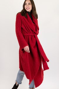 Vivienne Westwood Anglomania Red Boucle Waterfall Coat / Size: L - Fit: M / L