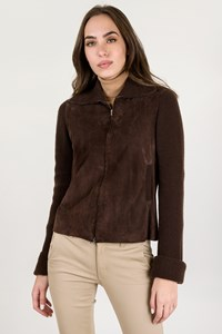 Bp Studio Brown Suede Jacket with Casmere Sleeves / Size: M - Fit: S