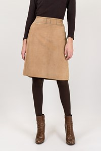 Cacharel Beige Suede Skirt with Belt Print / Size: ? - Fit: M