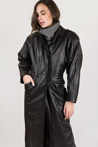 Gianni Versace Black Leather Coat / Size: ? - Fit: XS - S