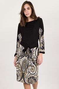 Etro Black Paisley Print Dress with Belt / Size: 48 IT - Fit: S / M
