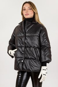 Be Blumarine Black Nylon Puffer Jacket with 3/4 Sleeves / Size: 42 IT - Fit: S