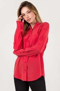 Equipment Light Red Signature Silk Shirt / Size: S - Fit: True to size