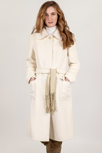 Max Mara White Wool Long Coat / Size: 42 IT - Fit: S