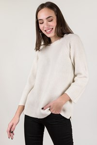 Base Milano Ecru Cashmere Knitted Sweater with 3/4 Sleeves / Size: 44 IT - Fit: S