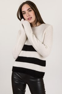 Equipment Ecru Wool Knitted Sweater with Black Stripes / Size: S/P - Fit: S