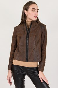 Plein Sud Brown Crackled Leather Jacket / Size: ? - Fit: XS