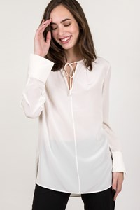 DVF White Silk Shirt with cuffs / Size: 2 - Fit: S