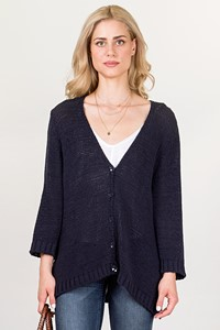 Marina Rinaldi Blue Knitted Cardigan / Size: XL - Fit: L
