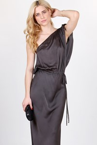 Lanvin Anthracite Grey Draped One-Shoulder Dress / Size: 42 FR