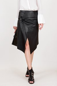 Mary Jane Black Leather Wrapover Skirt / Size: 42 IT - Fit: S