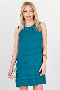 Mint Τeal Blue Layered Silk Dress / Size: 4 - Fit: S