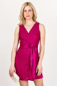 DVF Raspberry Pink Lace Wrap Dress / Size: 6 US - Fit: S / M