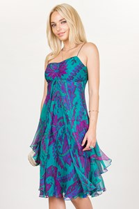 Ralph Lauren Teal Green-Purple Silk Chiffon Dress / Size: 4 US - Fit: S