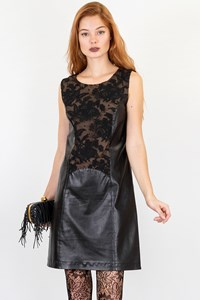 Grazia Bagnaresi Black Leather Dress with Lace / Size: 42 IT - Fit: S