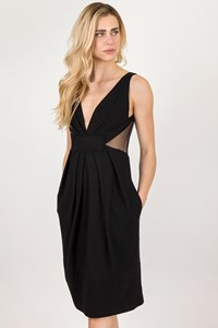 Donna Karan Black Wool Dress with Transparent Details / Size: S - Fit: M