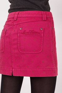 Louis Vuitton Fuschia Polka Dot Denim Mini Skirt / Size: 40 - Fit: S