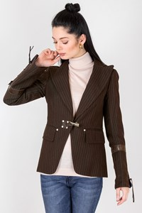 Weber Brown Striped Blazer with Leather Details / Size: 42 IT - Fit: S