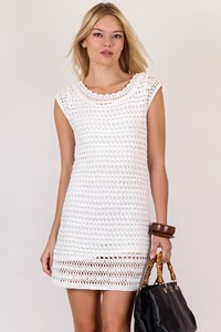 Massimo Dutti White Knitted Dress with Round Neckline / Size: S - Fit: XS / S
