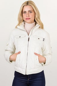 Moschino Jeans Off-White Puffer Jacket with Hood / Size: 42 IT - Fit: S