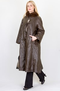 No Brand Double-Sided Leather and Fox Fur Coat/ Fit: M